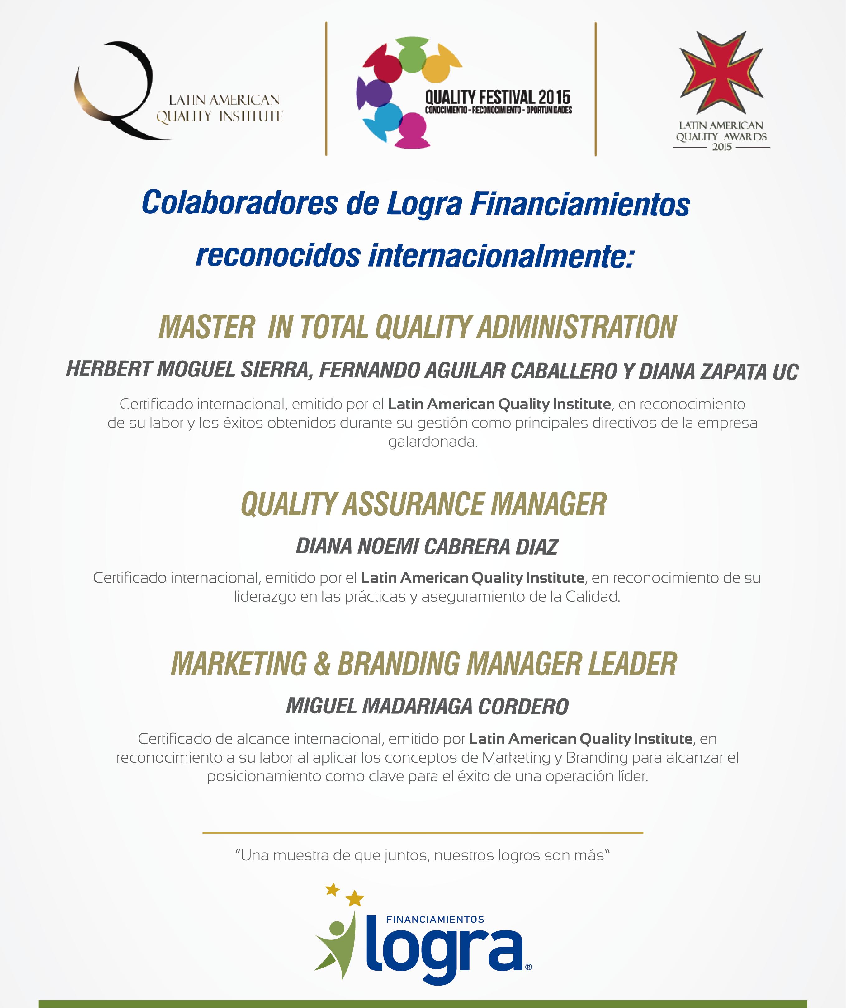 Latin American Quality Award 2015 - Colaboradores Logra curvas